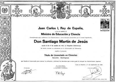 Licenciado en Geología Santiago Martín de Jesús